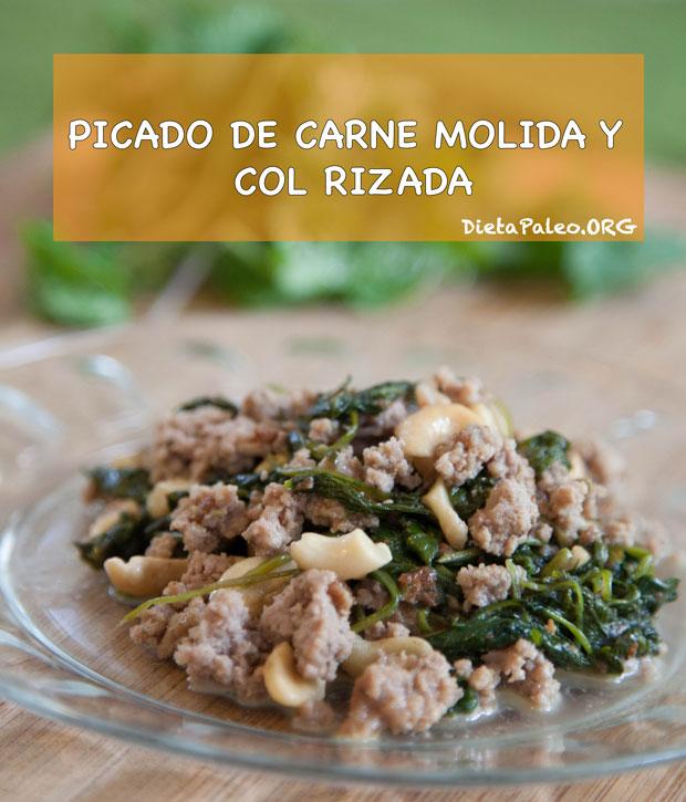 Picado de carne molida y kale - Cocinar col kale ...