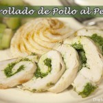 Arrollado de pollo con pesto